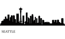 Seattle City Skyline Silhouett...