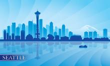 Seattle City Skyline Silhouett...