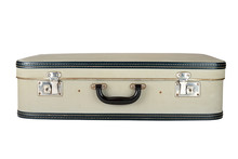 Vintage Suitcase Isolated On Wooden Background