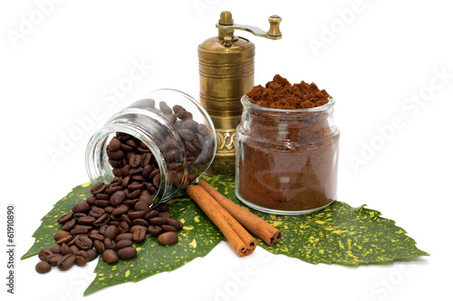 Canvas Prints Spices Ground coffee and coffee beans in bowls,cinnamon and grinder