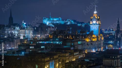 Obraz na płótnie Edynburg Skyline w nocy