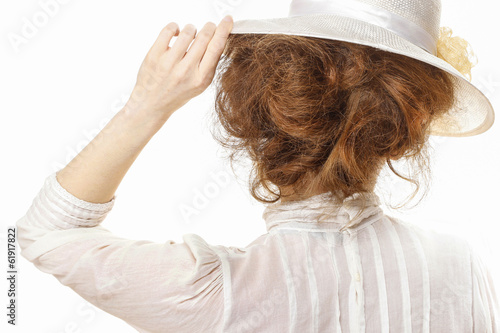 Fotografia  Woman in victorian clothing isolated on white background