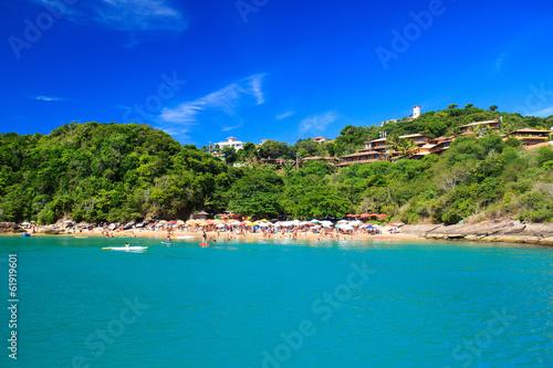 Panoramic view of paradise beach João Fernandinho, Búzios, Bra Poster Mural XXL
