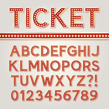 Red Bright Broadway Alphabet And Numbers, Eps 10 Vector Editable