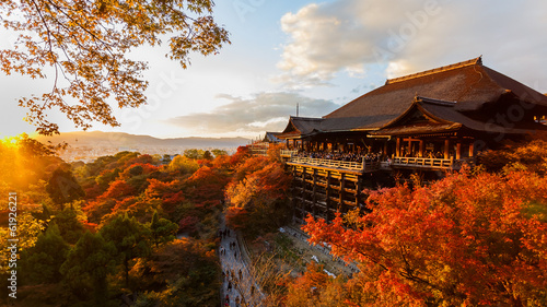 Photo Stands Brown Kiyomizu-dera temple in Kyoto