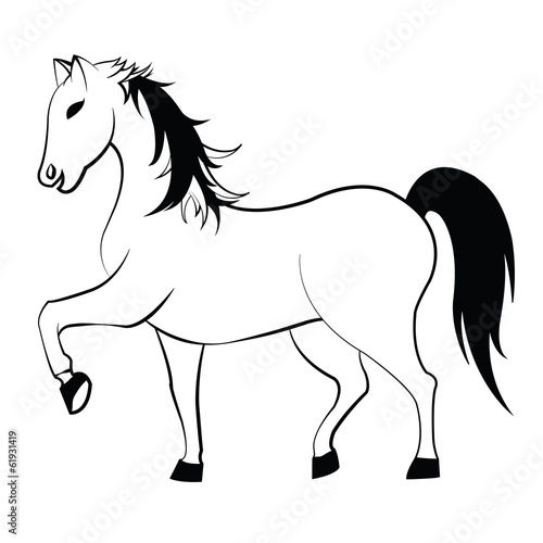 Garden Poster Pony Black and white horse