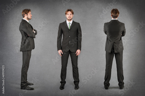 Fotografie, Obraz  Young businessman full body portrait in different positions agai