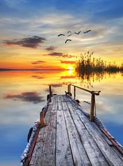 Panel Szklany la tranquilidad de un amanecer