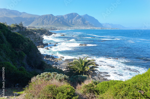 Montage in der Fensternische Südafrika Beautiful ocean and coast landscape in Hermanus, South Africa