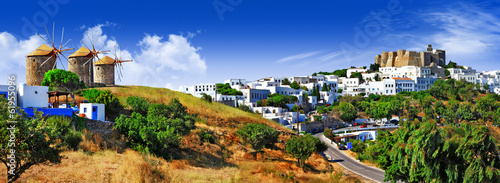Recess Fitting Panorama Photos panorama of scenic Patmos island. view of Chora and windmills ,