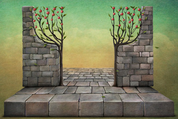 Background or illustration with apple trees.