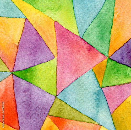 Abstract watercolor painted geometric pattern background