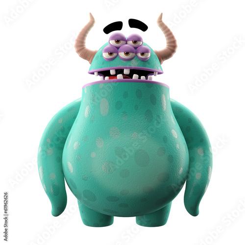 3D monster, mascot, funny character, cartoon icon, joke