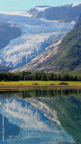 misty glacier mirroring