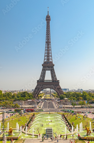 Foto op Plexiglas Kiev The Eiffel Tower and fountains of Trocadero in Paris France