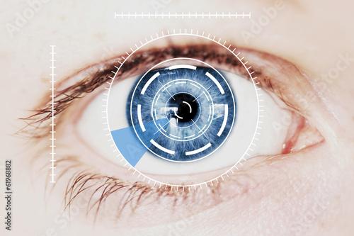 Spoed Foto op Canvas Iris Security Iris Scanner on Intense Blue Human Eye