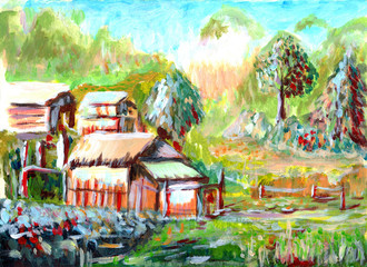 Fototapetaoil painting Village