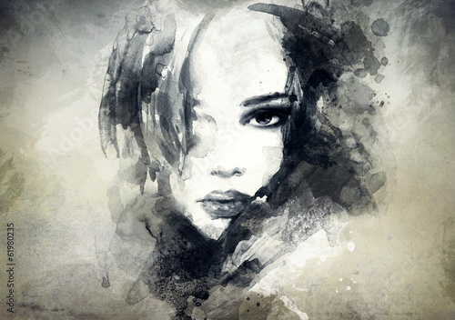 Garden Poster Watercolor Face abstract woman portrait
