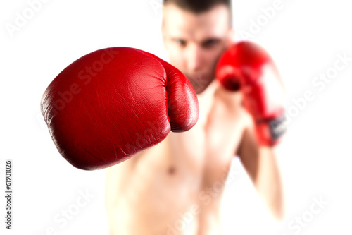 Láminas  Boxing. Fighters glove. Isolated on white background. Bokeh.