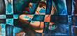 Leinwanddruck Bild - Abstrakte Kunst Gemälde Ölgemälde Kunstdruck Frau