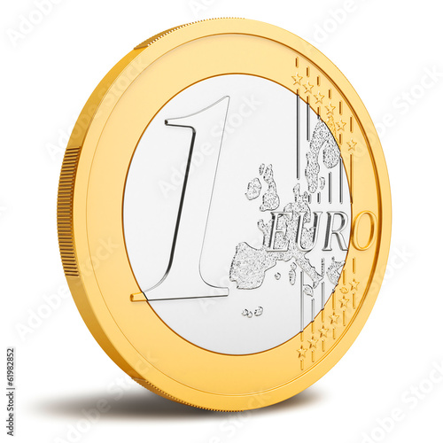 Fotografie, Obraz  One Euro coin isolated on white background