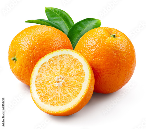 Orange fruits with leaves isolated on white