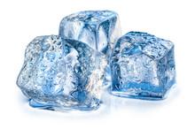 Three Ice Cubes On White Backg...