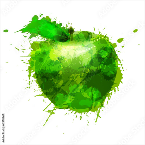 Green made of colorful splashes on white background