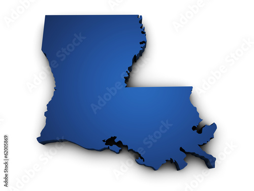 Map Of Louisiana State 3d Shape Canvas Print