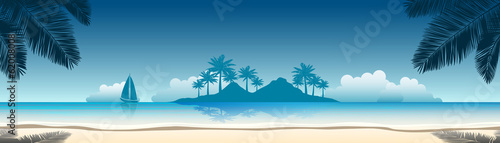 summer vacation vector banners with tropical beach - 62008008