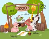 Alphabet Z letter,zoo,zucchini ,zip,zigzag,zebra.vector