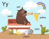 Alphabet Y letter,yak,yacht,yo gurt,yoyo,yellow.vector