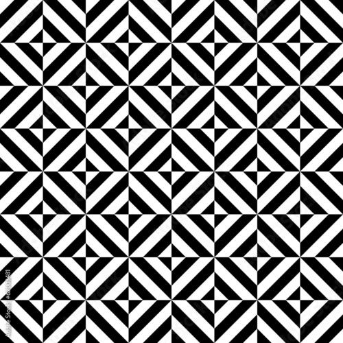 Photo  Black and white geometric diamond shape seamless pattern, vector