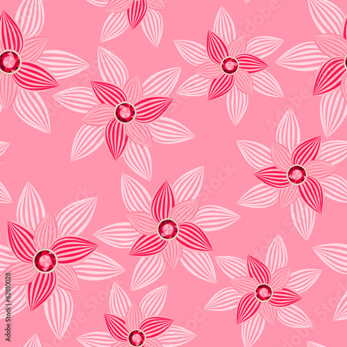 Fotografie, Obraz  pink flower with gemstone seamless pattern