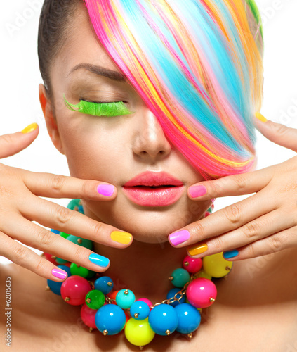 Foto op Plexiglas Beauty Beauty Girl Portrait with Colorful Makeup, Hair and Accessories