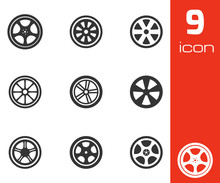 Vector Black Wheel Disks Icons...