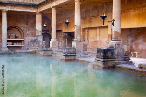 Fotografie, Obraz  Main Pool in the Roman Baths in Bath, UK
