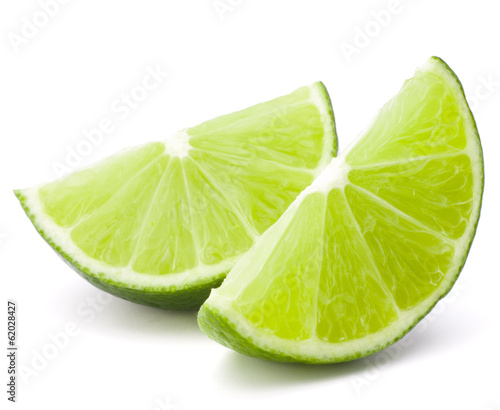 Citrus lime fruit segment isolated on white background cutout Billede på lærred