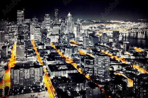 Großstadt bei Nacht - Seattle