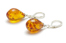 Golden Color Baltic Amber Earrings Isolated