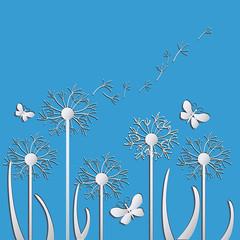 Panel Szklany Podświetlane Dmuchawce dandelions vector