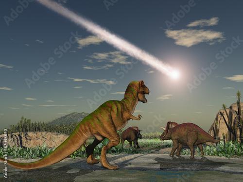 Fotografie, Obraz  Dinosaurios mirando la caída de un asteroide