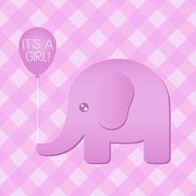 Pink Elephant Babyshower Illustration