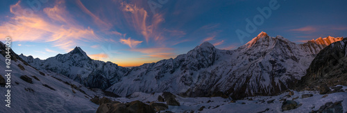 Poster Nepal Panoramic view of Annapurna Range at sunrise, Nepal