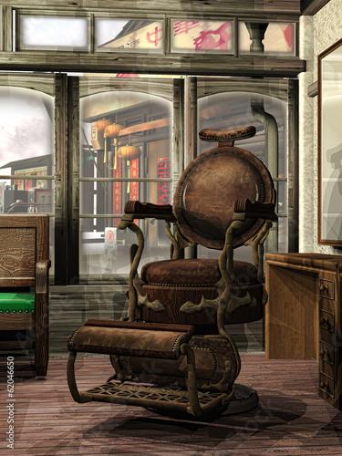 Stary fotel fryzjerski