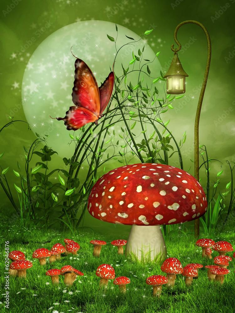 Fototapety, obrazy: Zielona baśniowa łąka z muchomorami i motylem