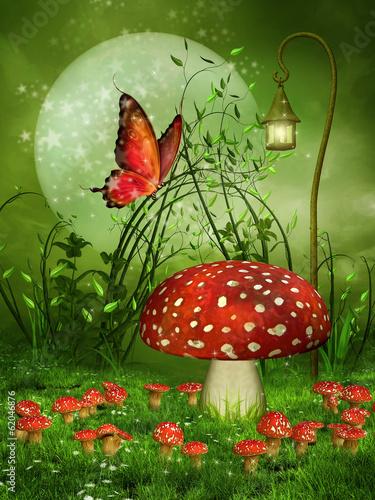 Obraz Zielona baśniowa łąka z muchomorami i motylem - fototapety do salonu