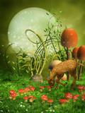 Fototapeta Pokój dzieciecy - Zielona baśniowa łąka z grzybami i sarenką