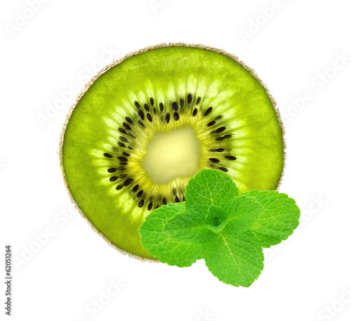 Slice of fresh juicy kiwi and mint herb isolated on white