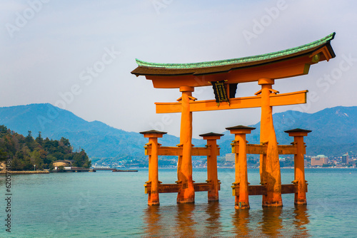 red gate located in the sea at miyajima island Hiroshima, Japan